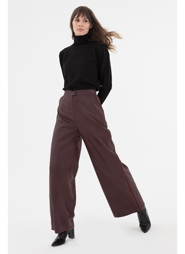 Vivencia Kadın Deri Pantolon  Mürdüm